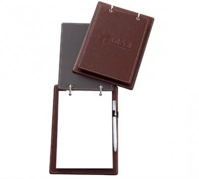 Porta bloco de anotações com duas argolas e acabamento em costura.
